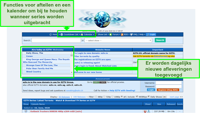 Screenshot van de EZTV-bestemmingspagina