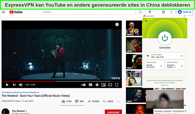 Screenshot van ExpressVPN verbonden met een Amerikaanse server en deblokkeert YouTube in China