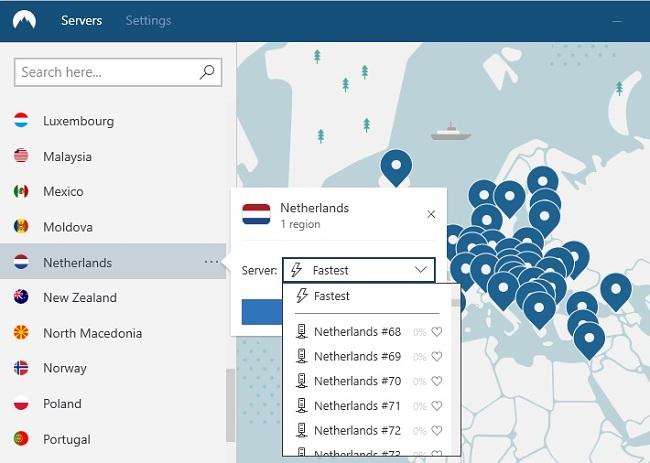 afbeelding van NordVPN-servers in Nederland