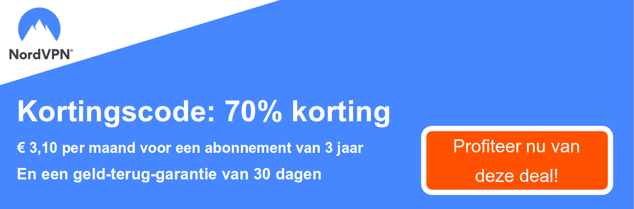 Graphic of a working NordVPN coupon with a 70% discount and 30 day money-back guarantee