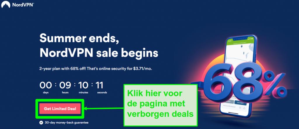 Screenshot van de NordVPN-pagina met verborgen deals