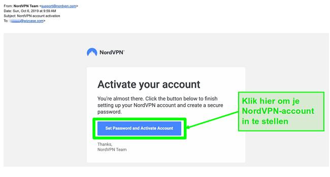 Schermafbeelding van e-mail voor activering van NordVPN-account
