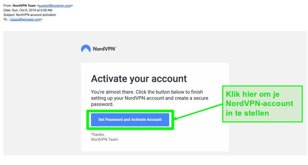 Screenshot of NordVPN account activation email