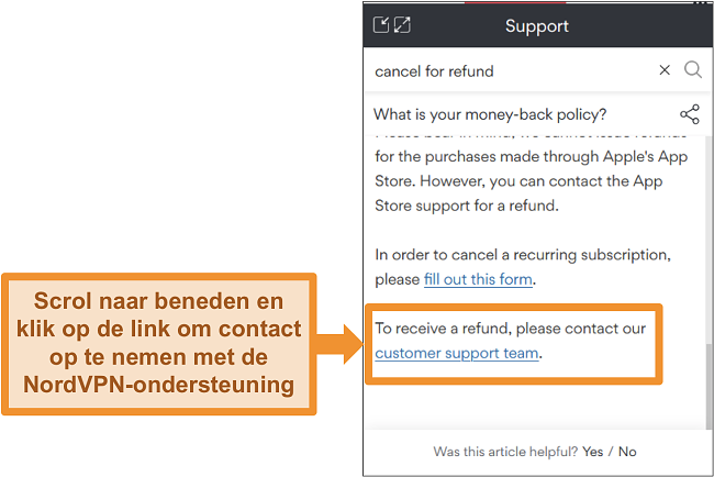 Screenshot van de NordVPN-chatbot die een terugbetalingsvraag beantwoordt