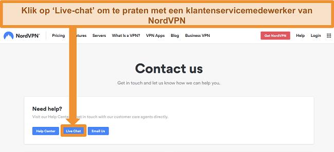 Screenshot van de NordVPN Contact-pagina met de Live Chat-knop