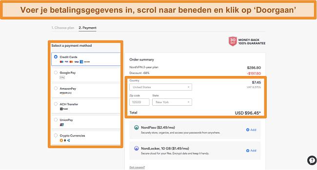 Screenshot van de betalingsopties van NordVPN