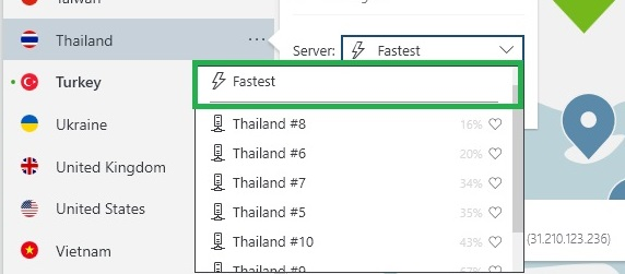 NordVPN ค้นหาเซิร์ฟเวอร์ที่เร็วที่สุด