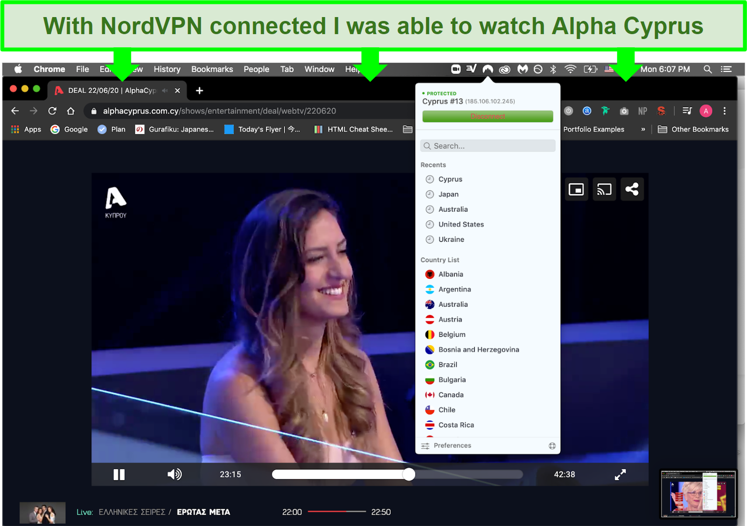 A screenshot of Deal playing on Alpha Cyprus using NordVPN