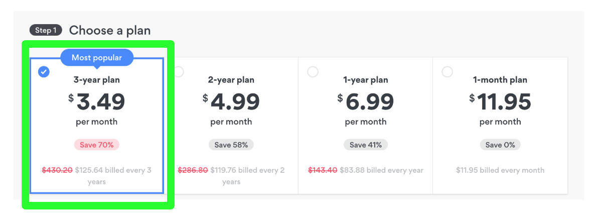 Screenshot of NordPVN payment plans for hidden deals