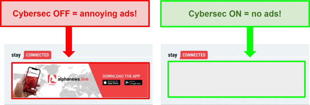 Screenshot of NordVPN's CyberSec on and off demonstrating how it can remove ads from websites