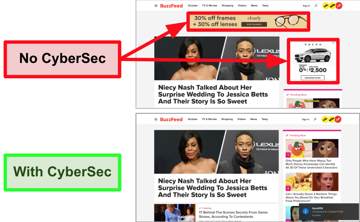 Screenshot of BuzzFeed homepage with NordVPN's CyberSec feature turned on and off