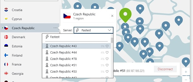 NordVPN zvolte podle českého města