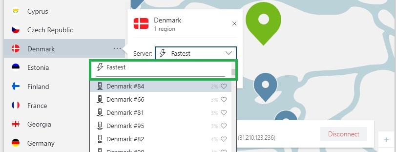 NordVPN finde den hurtigste server