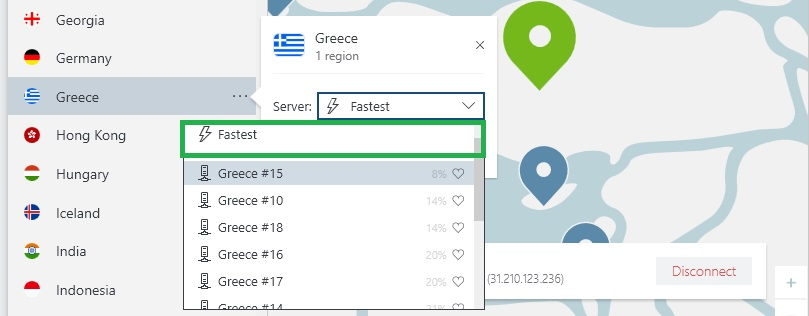 NordVPN find fastest server