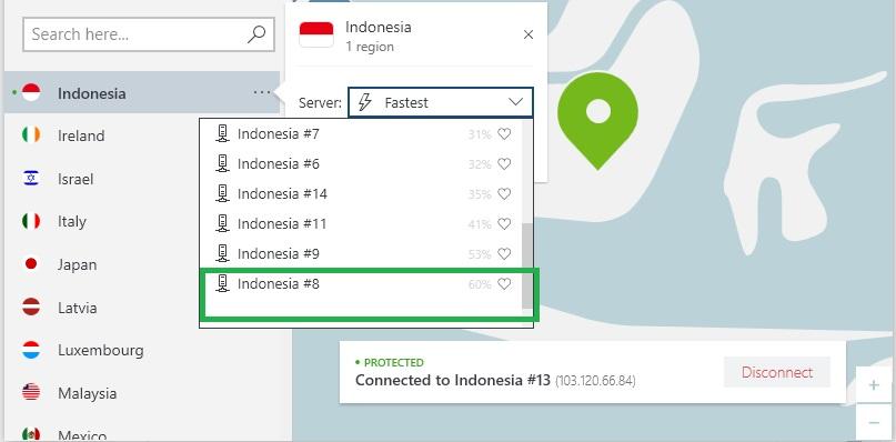 NordVPN menemukan server tercepat
