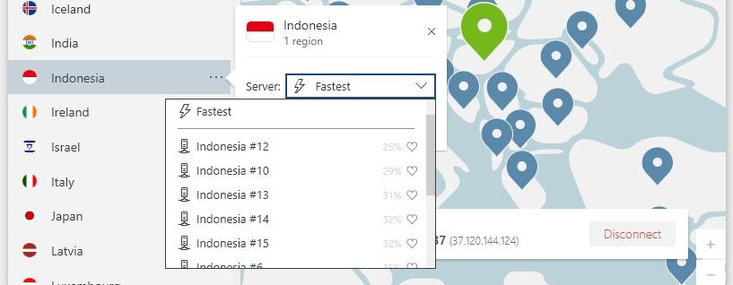 NordVPN memilih kota Indonesia