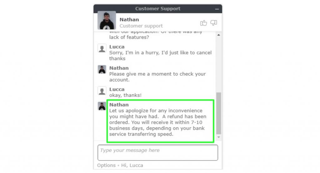 ライブチャットでのNordVPNカスタマーサポートエージェントによる払い戻しリクエストのスクリーンショット