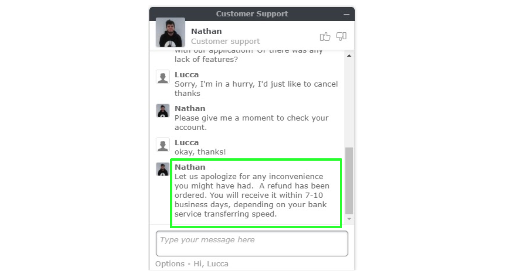 Screenshot of a refund request with a NordVPN customer support agent on live chat