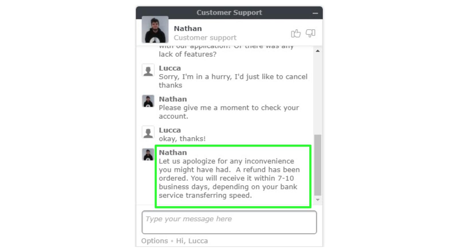 Cuplikan layar permintaan pengembalian dana dengan agen dukungan pelanggan NordVPN pada obrolan langsung