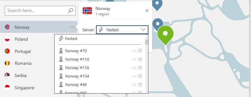 NordVPN velg av Norge by