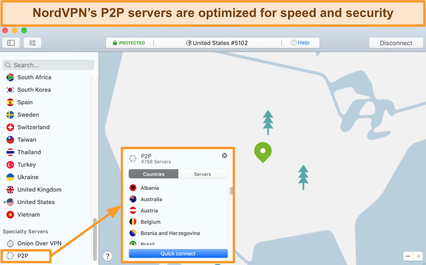 Screenshot of NordVPN's P2P servers for torrenting on the Mac app