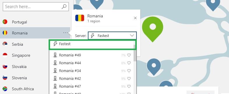 NordVPN găsește cel mai rapid server