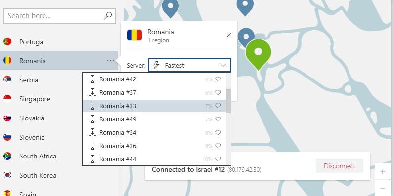 NordVPN alege după orașul România