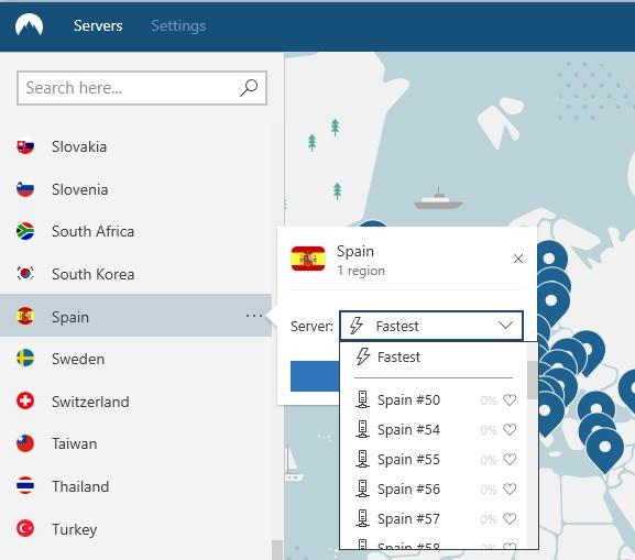 imagen de servidores NordVPN en España