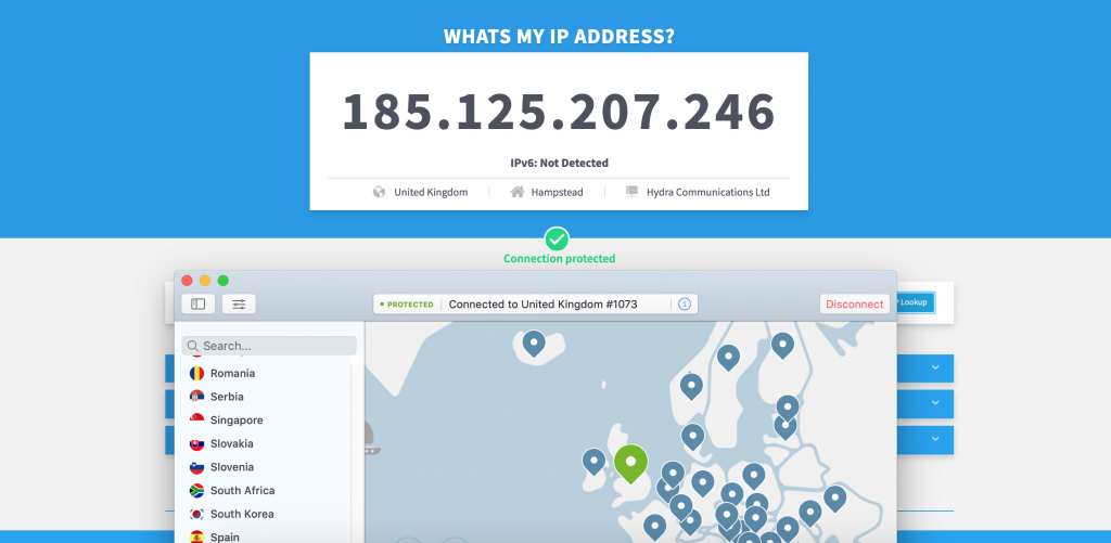 UK IP address using NordVPN