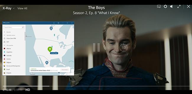 Captură de ecran a The Boys care se joacă pe Amazon Prime SUA cu NordVPN conectat la un server din SUA