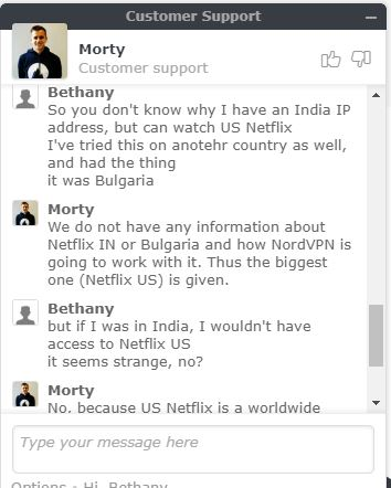 NordVPN customer chat regarding Netflix US