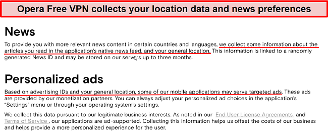 Screenshot of Opera Free VPN's privacy policy confirming user activity is tracked and logged