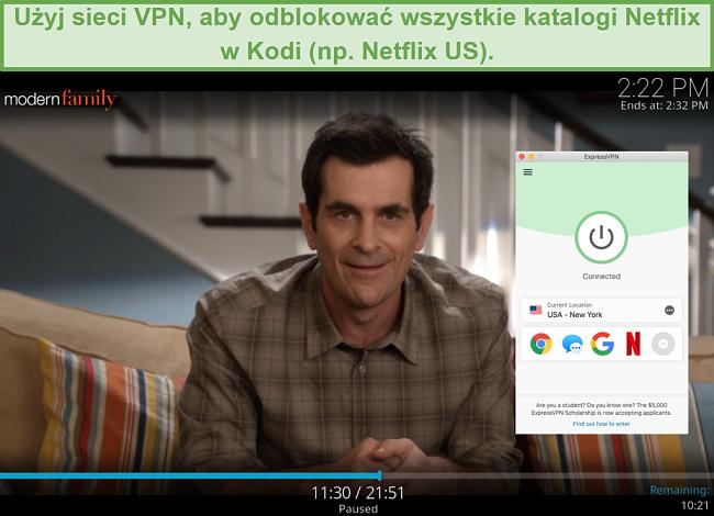 zrzut ekranu przedstawiający przesyłanie strumieniowe Modern Family w dodatku Netflix dla Kodi