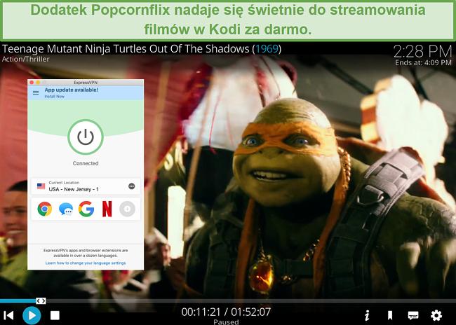 Zrzut ekranu przedstawiający grę TMNT przez Popcornflix na Kodi