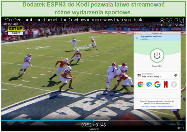 Zrzut ekranu przedstawiający streaming piłki nożnej na ESPN3 z Kodi