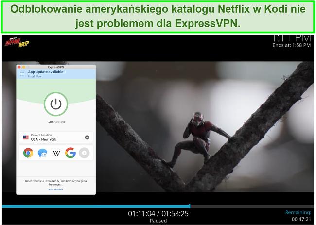 zrzut ekranu Ant Man vs Wasp w serwisie Netflix US za pośrednictwem Kodi