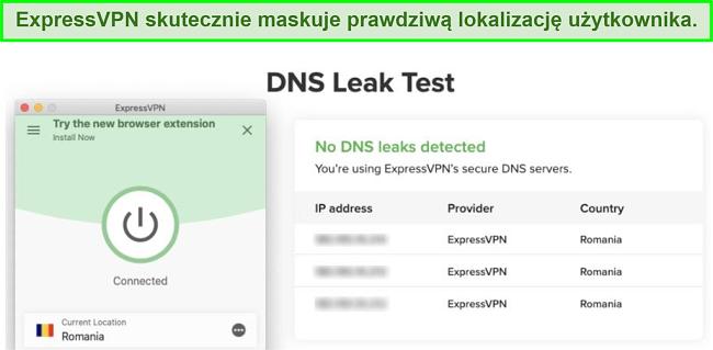 zrzut ekranu z udanym testem wycieku DNS przy użyciu ExpressVPN dla Kodi