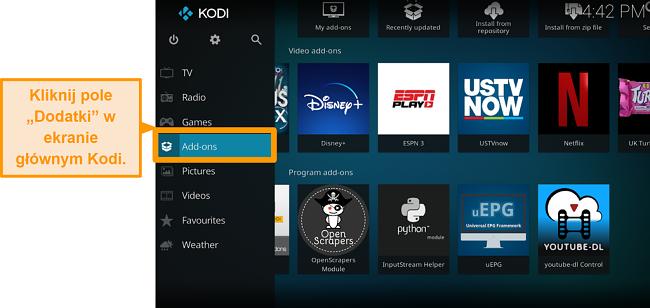 zrzut ekranu pokazujący, jak zainstalować oficjalny dodatek do kodi krok po kroku dodatki z dwoma kliknięciami