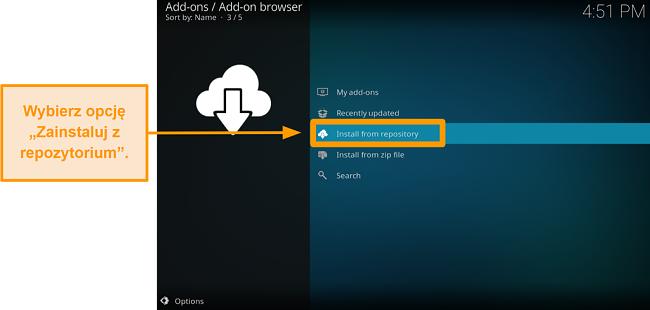 zrzut ekranu pokazujący, jak zainstalować oficjalny dodatek kodi, krok czwarty kliknij zainstaluj z repozytorium