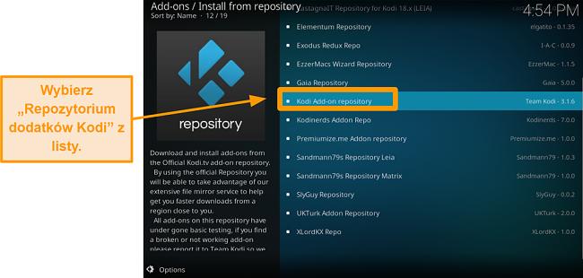 zrzut ekranu pokazujący, jak zainstalować oficjalny dodatek Kodi Krok piąty kliknij Dodaj Kodi w repozytorium z listy
