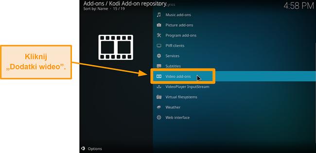 zrzut ekranu pokazujący, jak zainstalować oficjalny dodatek do kodi krok sześć kliknięć dodatki wideo