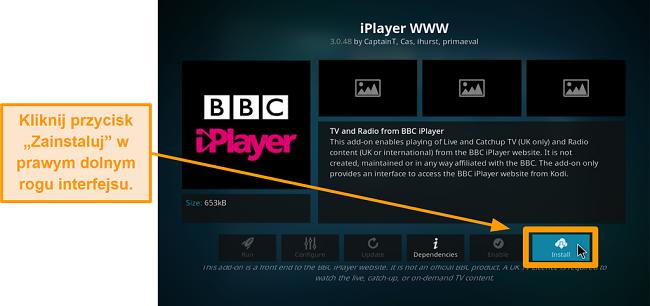 zrzut ekranu pokazujący, jak zainstalować oficjalny dodatek kodi krok ósmy kliknij zainstaluj