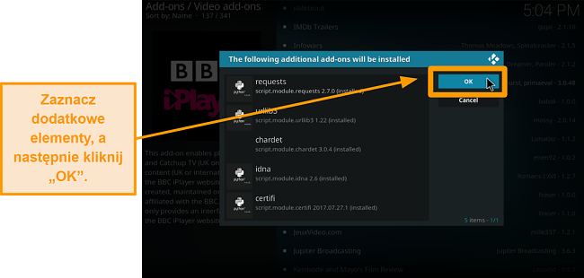 zrzut ekranu pokazujący, jak zainstalować oficjalny dodatek kodi krok dziewiąty sprawdź dodatkowe dodatki, a następnie kliknij OK
