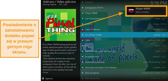 pojawi się zrzut ekranu pokazujący, jak zainstalować oficjalny dodatek kodi w kroku dziesiątym