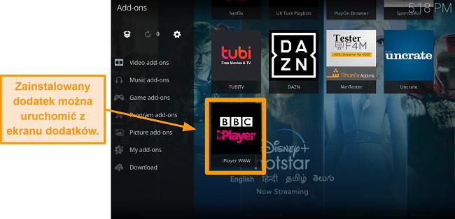 zrzut ekranu pokazujący, jak zainstalować oficjalny dodatek kodi, krok jedenasty, uruchom nowy dodatek ze strony głównej