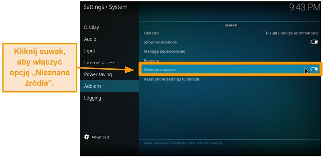 zrzut ekranu jak zainstalować dodatek do kodi innej firmy krok 4 włącz nieznane źródła