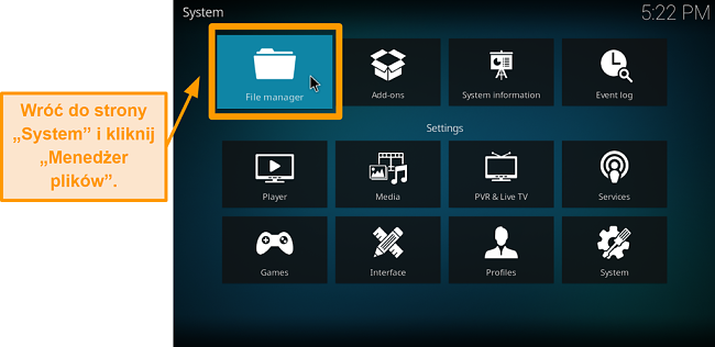 zrzut ekranu jak zainstalować dodatek kodi innej firmy krok 5 kliknij menedżer plików
