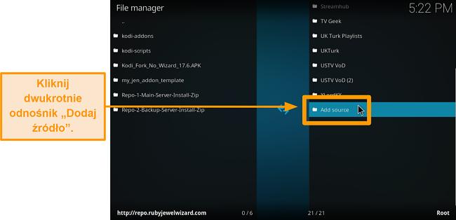 zrzut ekranu jak zainstalować dodatek do kodi innej firmy krok 6 kliknij dodaj źródło