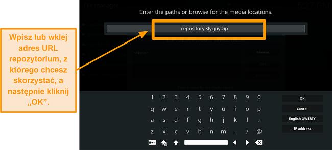 zrzut ekranu jak zainstalować dodatek Kodi innej firmy w kroku 8 wpisz adres URL źródła