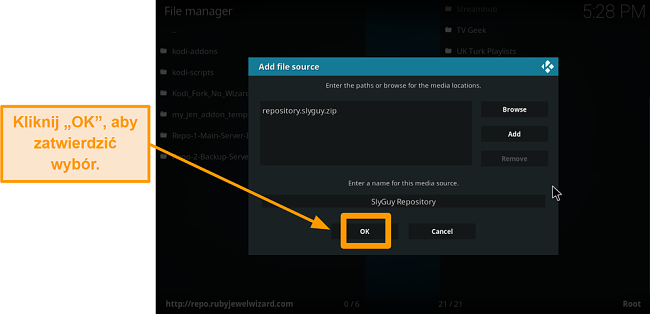 zrzut ekranu jak zainstalować dodatek do kodi innej firmy krok 11 kliknij ok